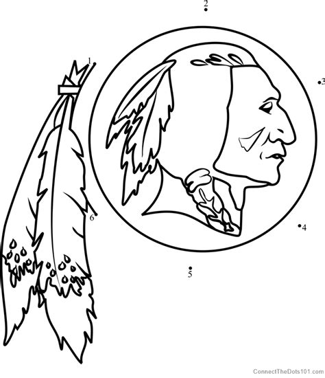 washington redskins logo dot  dot printable worksheet