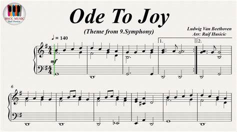 ode to joy symphony no 9 ludwig van beethoven piano