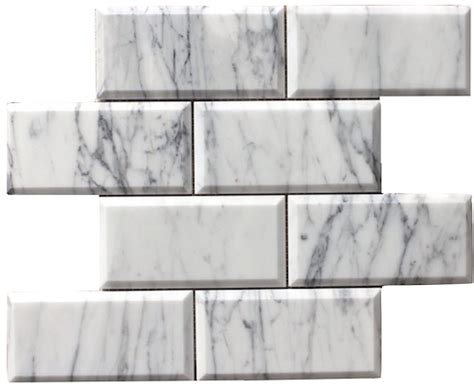 carrara bianco polished 3x6 quot beveled mesh mosaic