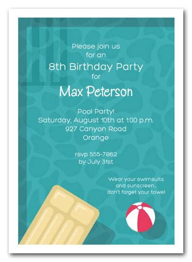 cool pool swimming party invitations