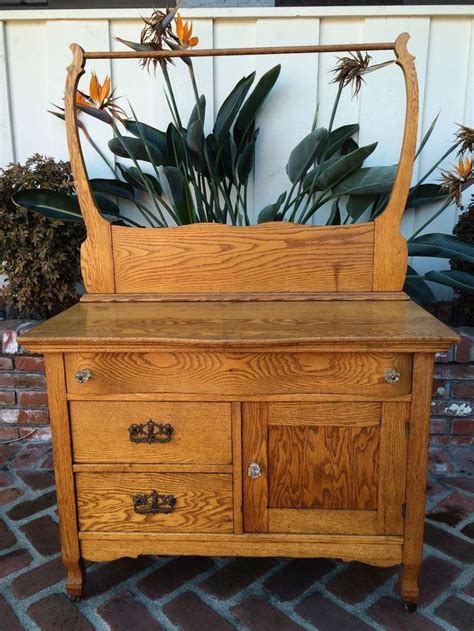 antique  vintage oak washstand dry sink dresser