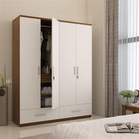 White 4 Door Wardrobe by Spacewood Engineered Wood 4 Door Wardrobe Price In