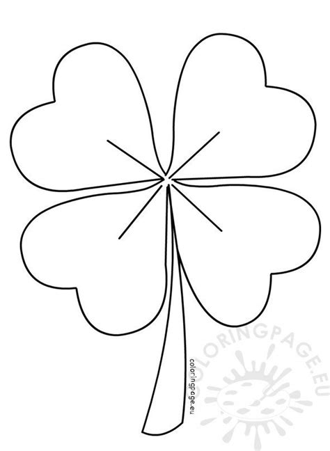 leaf clover vector coloring page