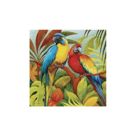 tableau perroquets dans la jungle imprim 233 sur toile et retouch 233 a la