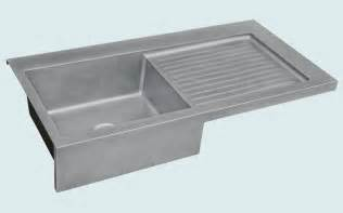 hand made zinc sink with apron ribbed drainboard by