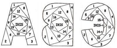 complete alphabet  iris folding patterns iris