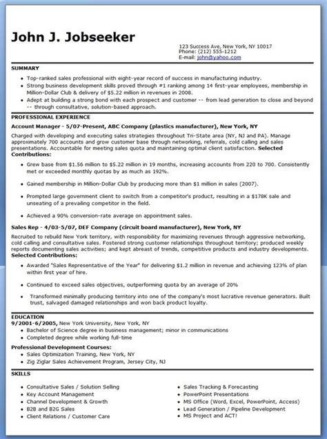 manufacturer sales representative resume creative resume