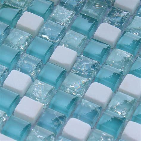 cream stone crackle crystal tile backsplash blue glass