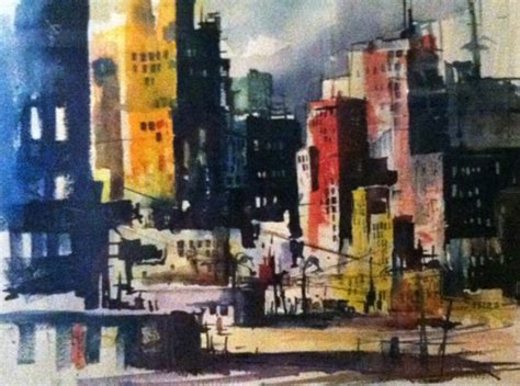 untitled impressionist city skyline watercolor