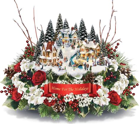 thomas kinkade floral centerpiece christmas