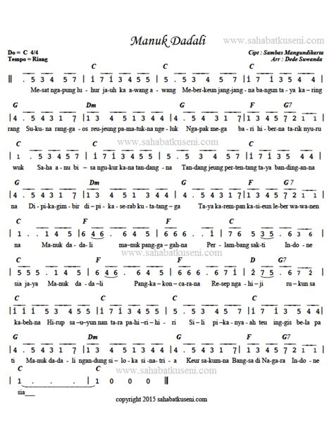 not lagu muara kasih bunda menggunakan pianika not angka lagu manuk dadali berikut lirik chord