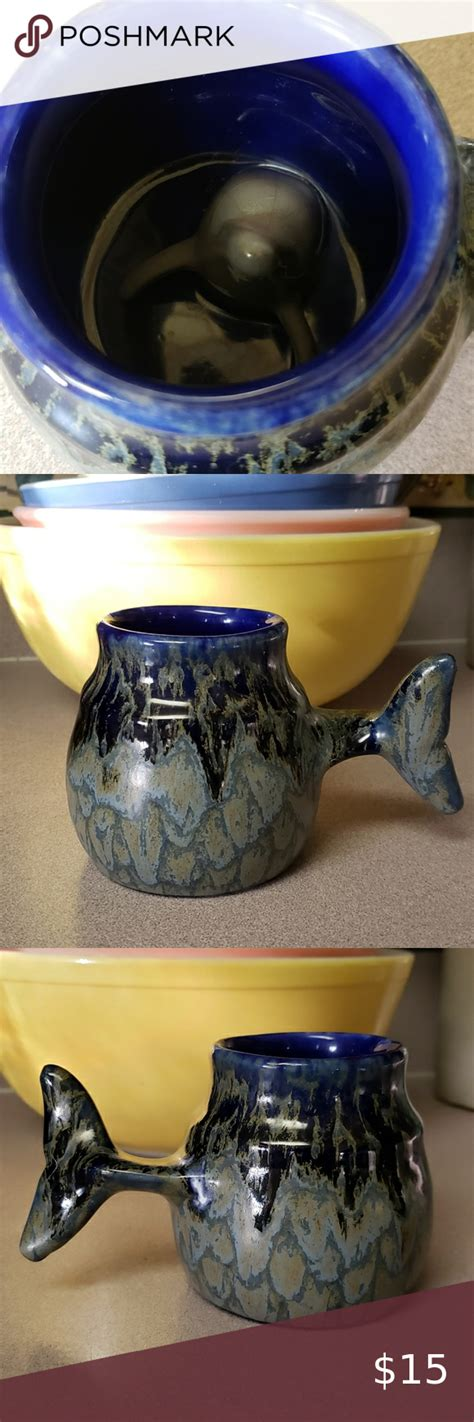 vtg dolphin cobalt blue mug   mugs tea