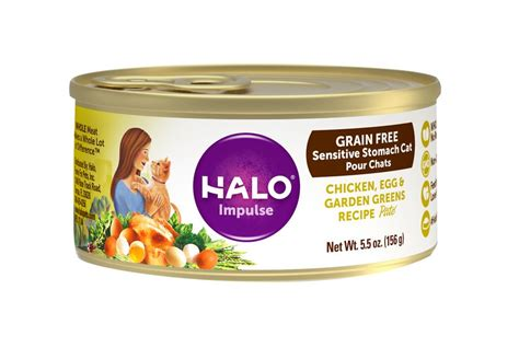 Halo Impulse Chicken, Egg & Garden Greens Recipe Grain-free Sensitive Stomach Canned Cat Food, 5