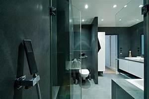 salle de bain idealbagni en ardoise et blanc cree par l With architecte interieur salle de bain