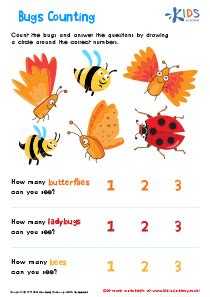 bugs counting printable math worksheetkids preschool
