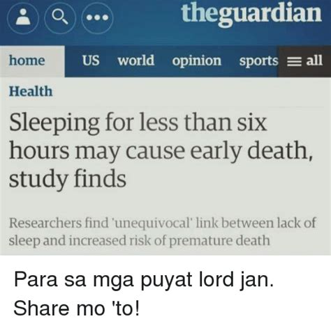 Lack Of Sleep Meme - theguardian home us world opinion sports e all health sleeping for less than six hours may cause