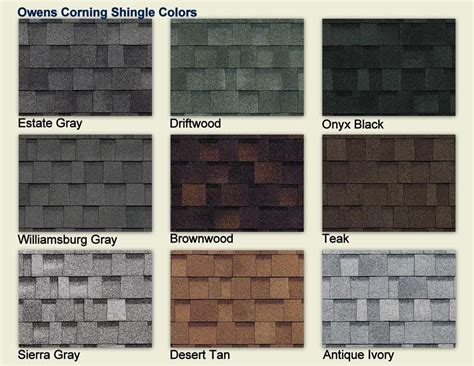 shingle colors owens corning shingle colors color chart owens corning