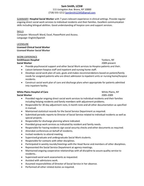 11 professional summary for resume no work experience summary sle hospital social work resume exles with