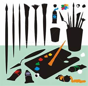 Art Supplies Color Silhouettes vector illustration ...