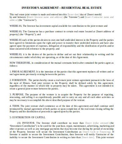 real estate investment agreement examples templates