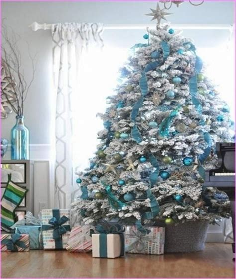 blue  silver christmas tree decor decorathing