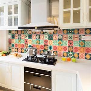Stickers Carreaux De Ciment Cuisine : 24 stickers carreaux de ciment azulejos rominario ~ Melissatoandfro.com Idées de Décoration