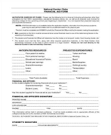 sample financial aid forms   word