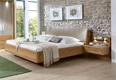 Semi Solid Oak / Faux Leather Modern Bed