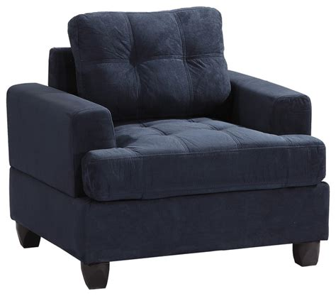 tufted armchair navy blue suede transitional