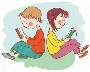 Children reading books — Stock Vector © kimazo #67820629