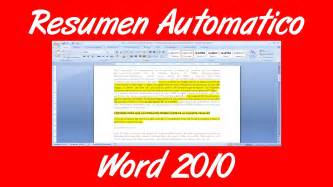 en resumen in como hacer un resumen automatico en un documento de word
