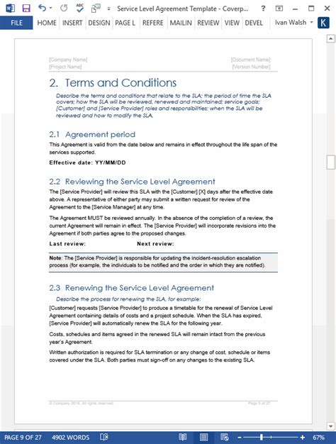 service level agreement template   ms word