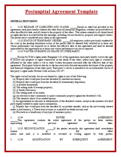 post nuptial agreement template postnuptial agreement template by agreementstemplates org