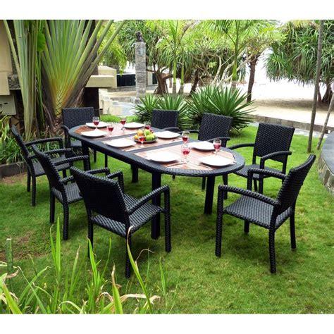 Meuble en teck de jardin  salon de jardin teck et ru00e9sine tressu00e9e + fauteuils de jardin