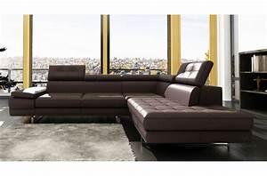 Canapé D Angle 5 Places : canap d 39 angle en cuir 5 6 places mobilier priv ~ Teatrodelosmanantiales.com Idées de Décoration