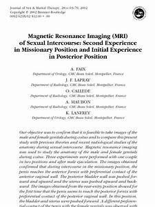 Magnetic Resonance Imaging  Mri  Of Sexual Intercourse