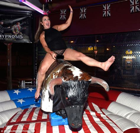 Lisa Appleton dons sheer briefs to ride a bucking bronco ...