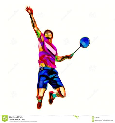 anime based on badminton polygonal professional badminton player stock illustration