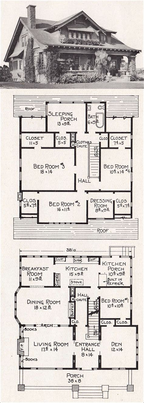 bungalow house plans large california bungalow craftsman style home plan 1918 e w stillwell