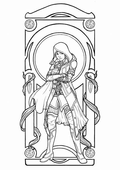 Nouveau Coloring Pages Woman Adults Drawing Young