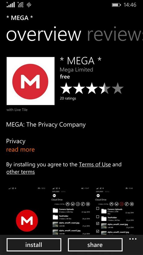 official mega app for windows phone now available for