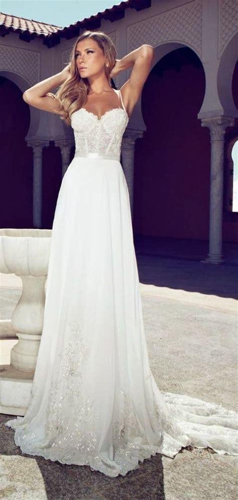 chiffon spaghetti straps corset lace bodice wedding