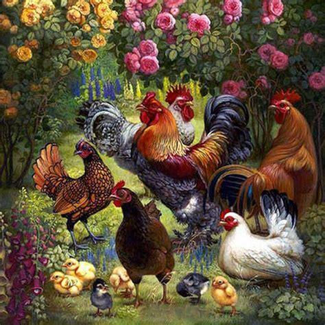 home garden chicken flower wall paintings  living