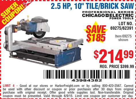 Chicago Electric Tile Saw 69275 by 100 Chicago Electric Tile Saw 69275 Shop Tile Saws