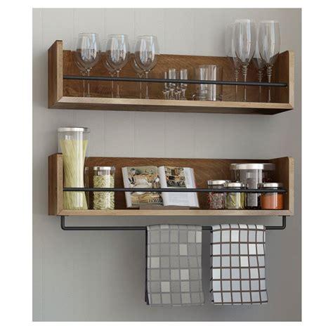 set   rustic kitchen wood wall shelf  metal rail  multi       spice