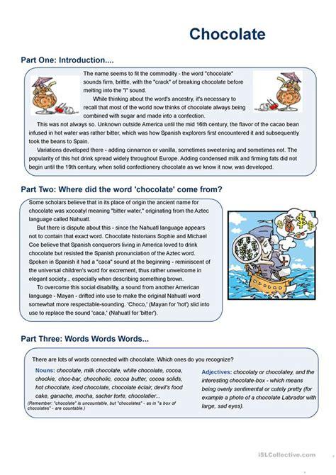 chocolate worksheet free esl printable worksheets made