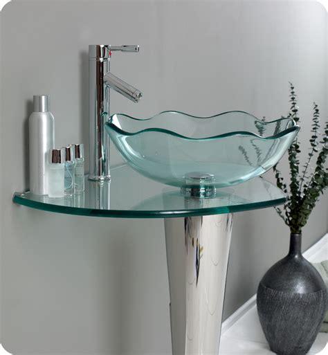Glass Bathroom Sinks And Vanities by Fresca Netto Modern Glass Bathroom Vanity W Wavy Edge