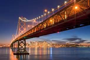 san francisco bay bridge from treasure island with holiday lights