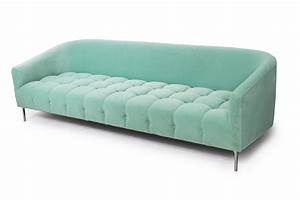 St bart39s sofa with biscuit tufting in mint velvet modshop for Mint green sectional sofa