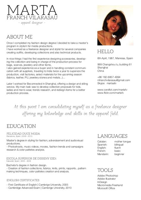 Freelance Translator Curriculum Vitae by Marta Franch Cv Freelance